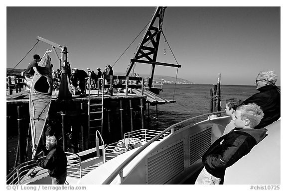 Loading  Island Packers boat, Santa Rosa Island. Channel Islands National Park (black and white)