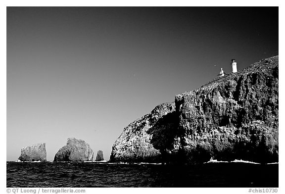 Cliffs and lighthouse, East Anacapa Island. Channel Islands National Park (black and white)