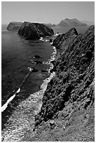 Cliffs near Inspiration Point, East Anacapa Island. Channel Islands National Park, California, USA. (black and white)