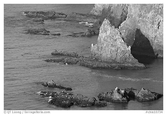 Rocky shoreline of Middle Anacapa Island. Channel Islands National Park (black and white)