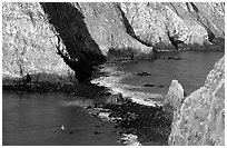 Channel between East Anacapa and Middle Anacapa at low tide. Channel Islands National Park ( black and white)