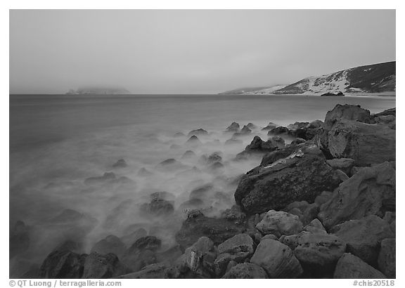Prince Island and Cuyler Harbor with fog, dusk, San Miguel Island. Channel Islands National Park (black and white)