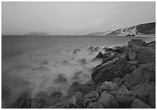 Prince Island and Cuyler Harbor with fog, dusk, San Miguel Island. Channel Islands National Park ( black and white)