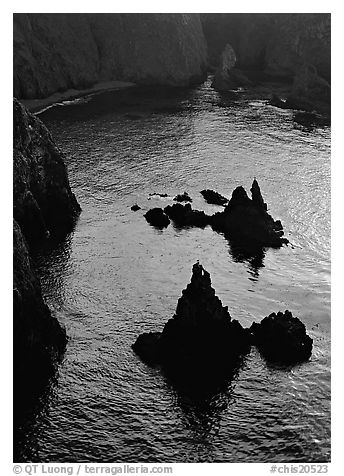 Rocks and ocean, Cathedral Cove, Anacapa, late afternoon. Channel Islands National Park (black and white)