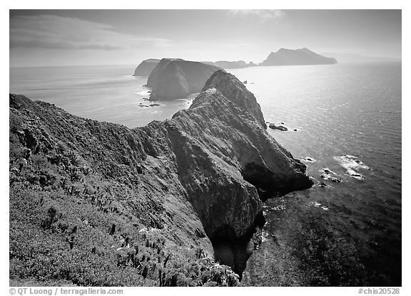 Chain of islands, afternoon, Anacapa Island. Channel Islands National Park (black and white)