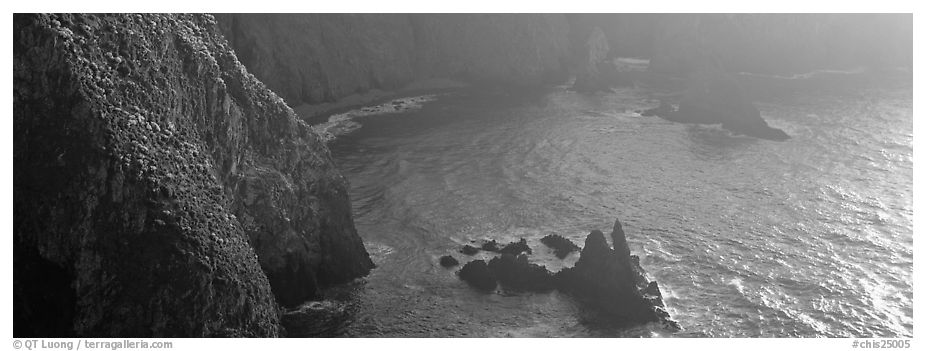 Steep cove with glittering water, Anacapa Island. Channel Islands National Park (black and white)