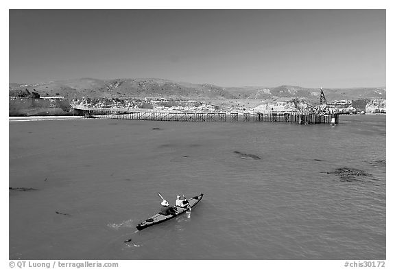 Kayakers in Bechers Bay, Santa Rosa Island. Channel Islands National Park (black and white)