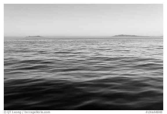 Ocean, Annacapa and Santa Cruz Islands at sunrise. Channel Islands National Park (black and white)