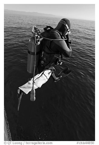 Scuba diver jumping from boat. Channel Islands National Park (black and white)