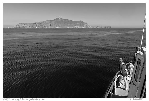 Woman on boat cruising towards Annacapa Island. Channel Islands National Park (black and white)