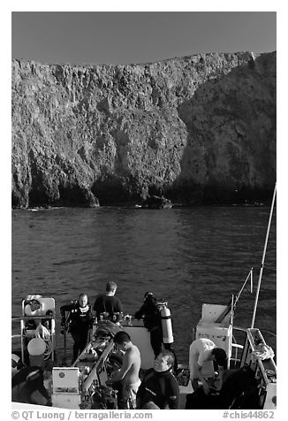 Dive boat and cliffs, Annacapa Island. Channel Islands National Park (black and white)