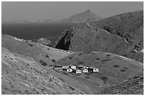 Ranger residences, Santa Cruz Island. Channel Islands National Park, California, USA. (black and white)