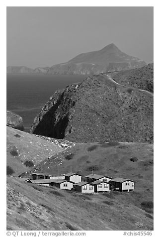 National Park Service housings, Santa Cruz Island. Channel Islands National Park (black and white)