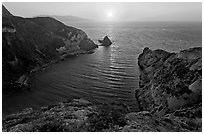 Potato Harbor cove at sunset, Santa Cruz Island. Channel Islands National Park, California, USA. (black and white)