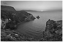 Sunset, Potato Harbor, Santa Cruz Island. Channel Islands National Park, California, USA. (black and white)