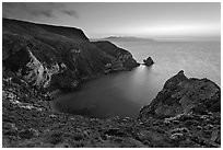 Twilight, Potato Harbor, Santa Cruz Island. Channel Islands National Park, California, USA. (black and white)