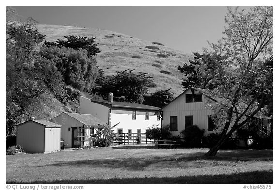 Historic Scorpion Ranch, Santa Cruz Island. Channel Islands National Park (black and white)