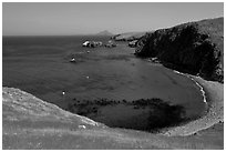 Aquamarine waters and kelp in bay, Scorpion Anchorage, Santa Cruz Island. Channel Islands National Park ( black and white)