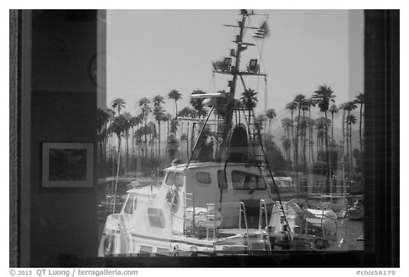 National Park Service boat, visitor center window reflexion. Channel Islands National Park (black and white)
