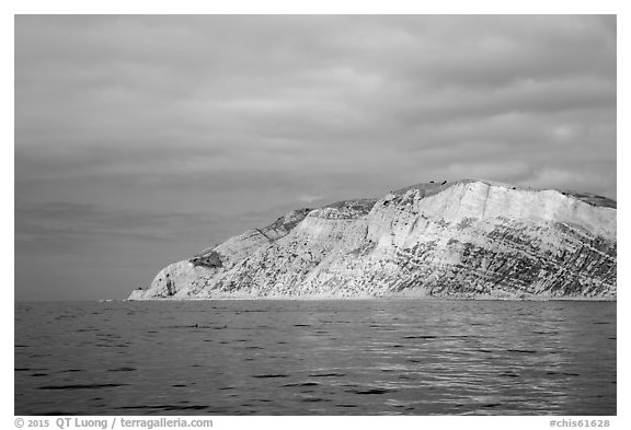 Yellow cliffs, Santa Cruz Island. Channel Islands National Park (black and white)
