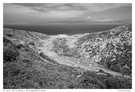 Campground wind shelters, Santa Rosa Island. Channel Islands National Park (black and white)