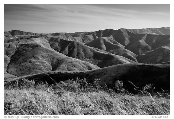 Soledad Peak range from Black Mountain, Santa Rosa Island. Channel Islands National Park (black and white)