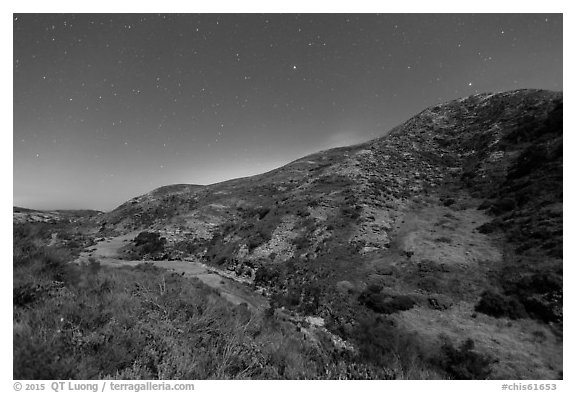 Cherry Canyon at night, Santa Rosa Island. Channel Islands National Park (black and white)