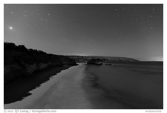 Bechers Bay and Carrington Point at night, Santa Rosa Island. Channel Islands National Park (black and white)