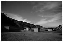 Campground at night, Santa Rosa Island. Channel Islands National Park ( black and white)