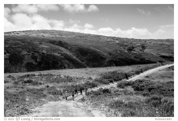 Hikers on road, Santa Rosa Island. Channel Islands National Park (black and white)