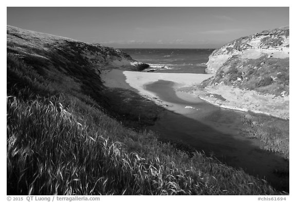 Mouth of Lobo Canyon, Santa Rosa Island. Channel Islands National Park (black and white)