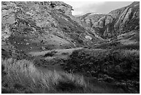 Lobo Canyon at sunset , Santa Rosa Island. Channel Islands National Park ( black and white)