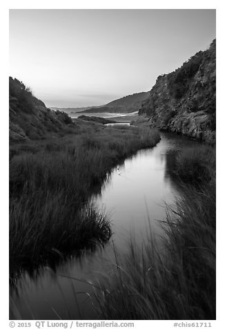 Wetland at he bottom of Water Canyon, and Ocean, sunrise, Santa Rosa Island. Channel Islands National Park (black and white)