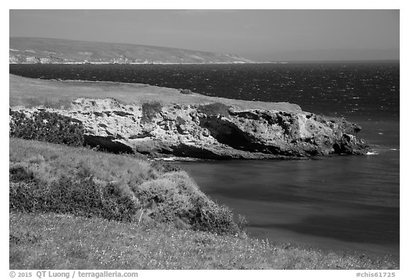 Black Point on windy day, Santa Rosa Island. Channel Islands National Park (black and white)