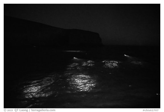 Underwater lights from divers, Santa Barbara Island. Channel Islands National Park (black and white)