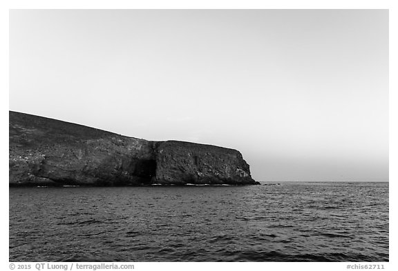 Arch Point at dawn, Santa Barbara Island. Channel Islands National Park (black and white)