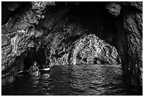 Kayaker in sea cave, Santa Cruz Island. Channel Islands National Park ( black and white)