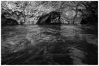 Clear waters, kelp, annd sea caves, Santa Cruz Island. Channel Islands National Park ( black and white)