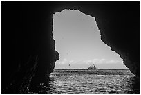 Rock and birds framed by sea cave, Santa Cruz Island. Channel Islands National Park ( black and white)