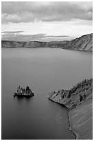 Phantom Ship and Chaski Bay at sunset. Crater Lake National Park ( black and white)