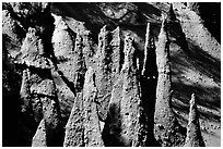 Pumice and ash pipes cemented by volcanic gasses. Crater Lake National Park, Oregon, USA. (black and white)