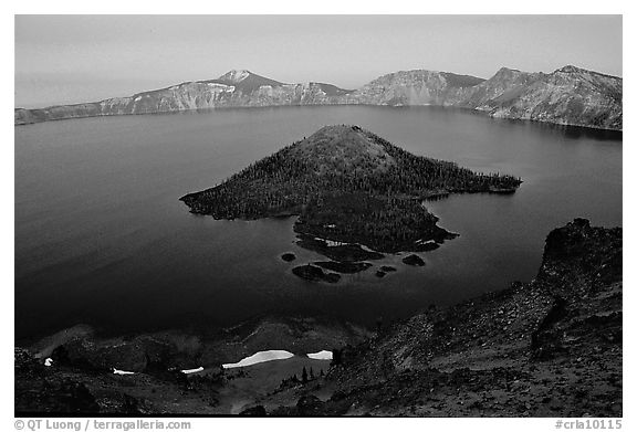 Wizard Island and Lake at dusk. Crater Lake National Park (black and white)