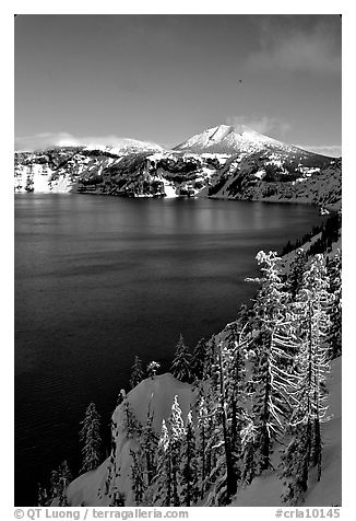 Lake rim in winter with blue skies. Crater Lake National Park (black and white)