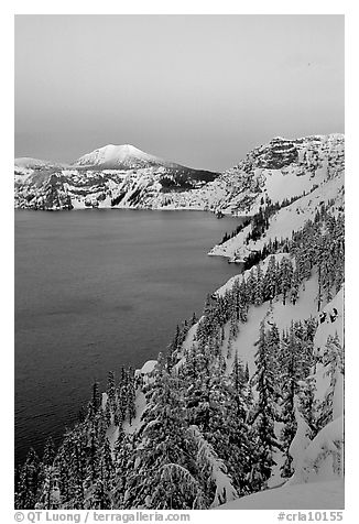 Lake, Mt Garfield, Mt Scott, winter dusk. Crater Lake National Park (black and white)