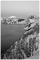 Lake, Mt Garfield, Mt Scott, winter dusk. Crater Lake National Park, Oregon, USA. (black and white)