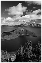 Lake and Wizard Island, afternoon. Crater Lake National Park, Oregon, USA. (black and white)