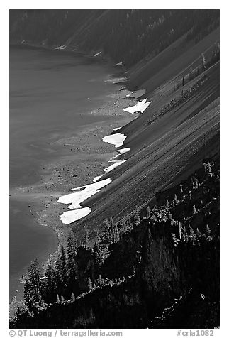 Crater walls and lake. Crater Lake National Park (black and white)