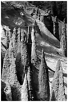 Ancient fossilized vents. Crater Lake National Park, Oregon, USA. (black and white)