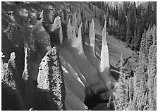 Pinnacles rising from Sand Creek Canyon. Crater Lake National Park, Oregon, USA. (black and white)