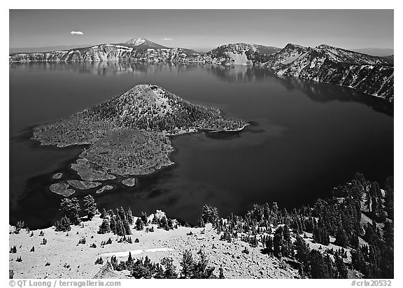 Lake and Wizard Island. Crater Lake National Park (black and white)
